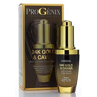 Progenix 24k Gold and Caviar Serum. Anti-Wrinkle Serum with 24kt Colloidal Gold, Vegan Green Caviar, Manuka Honey for Fine Lines, Wrinkles, and Dark Spots. 1 FL OZ (30 mL)