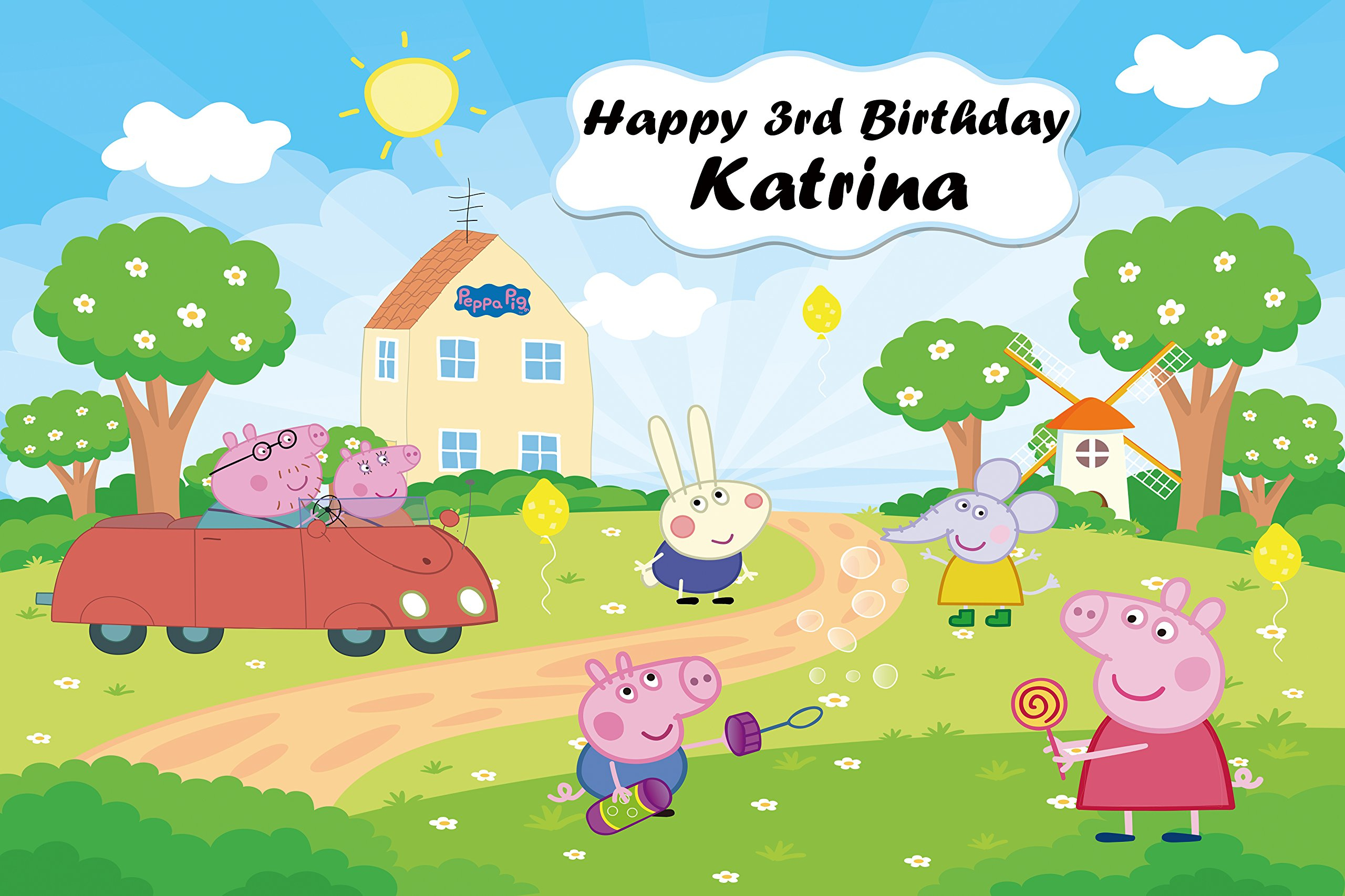 Personalized Peppa Pig Backdrop Custom Birthday Banner Party Decoration, Printed Fabric Photography Background (P0172, 12' wide by 8' tall) by BestDrop