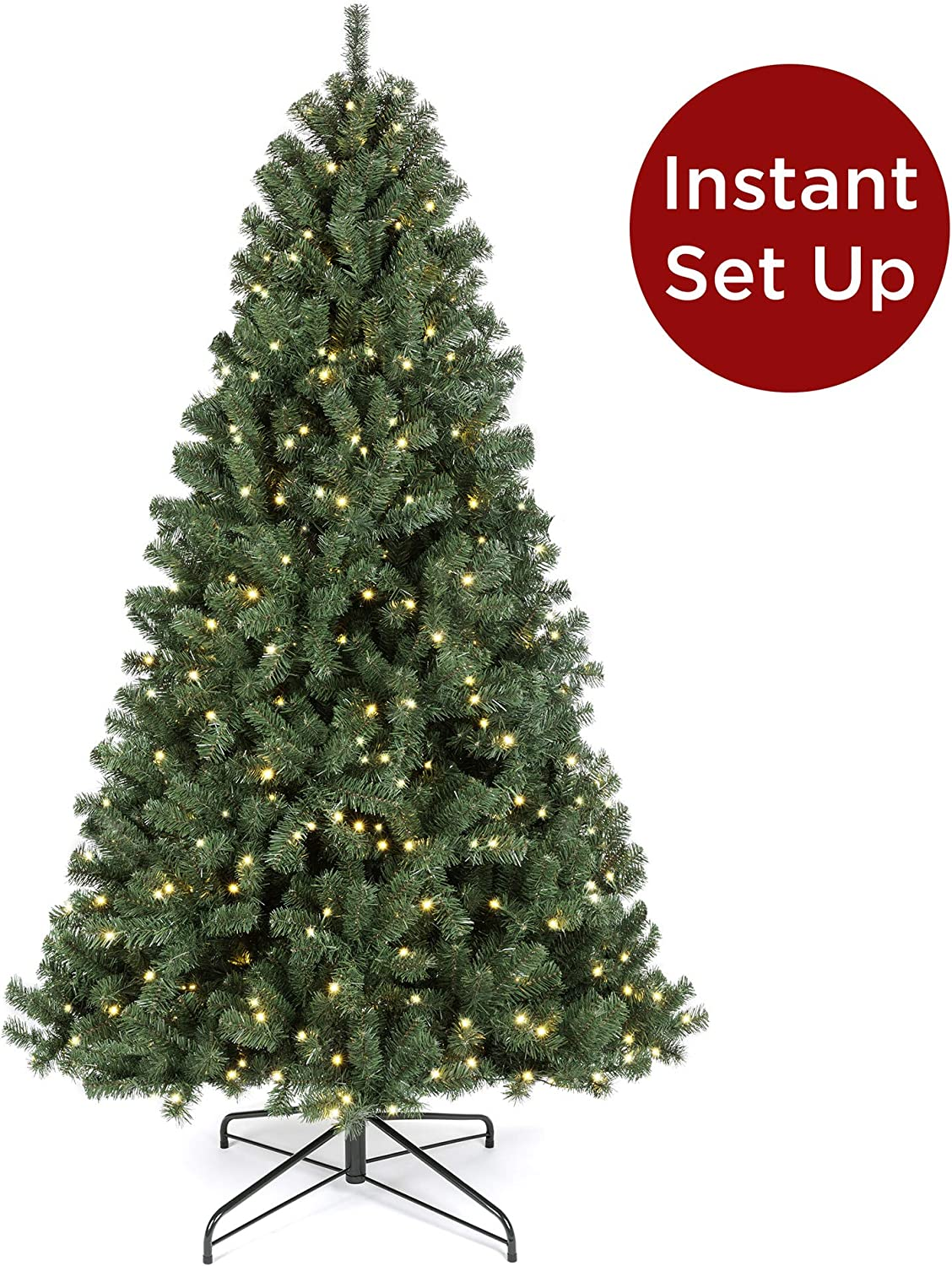 Best Choice Products 7.5ft Pre-Lit Instant Setup No Fluff Hinged Artificial Spruce Christmas Tree w/ 550 LED Lights