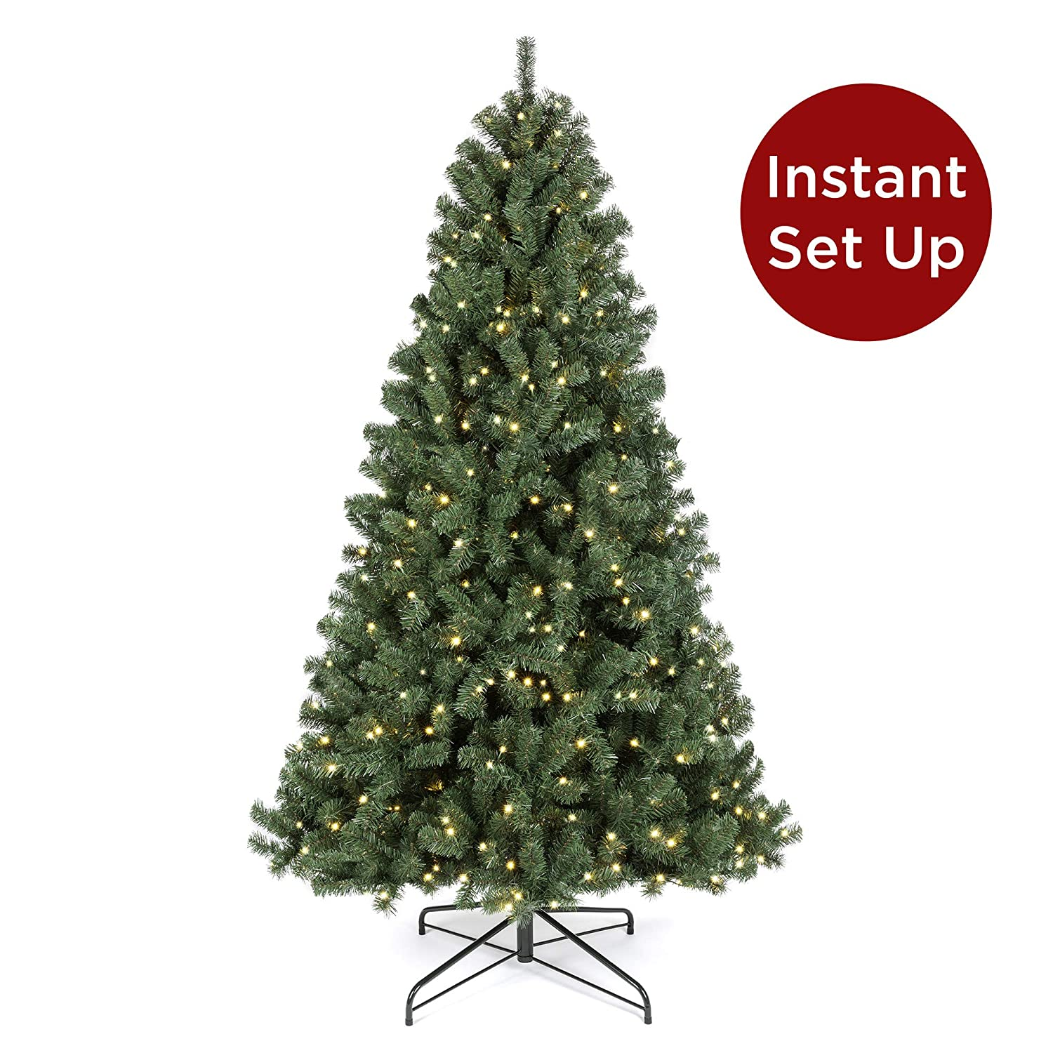 Best Choice Products 7.5ft Pre-Lit Instant No Fluff Artificial Spruce Christmas Tree w/ 550 LED Lights, 1,346 Tips