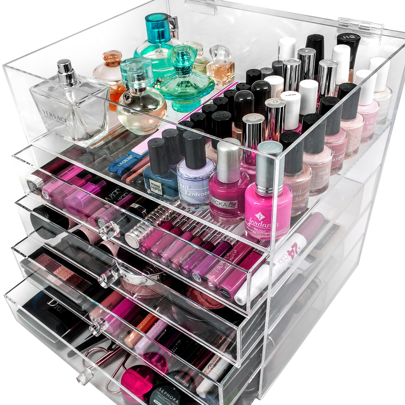 Amazoncom Sorbus 5 Tier Acrylic Cosmetic and Makeup Storage Case