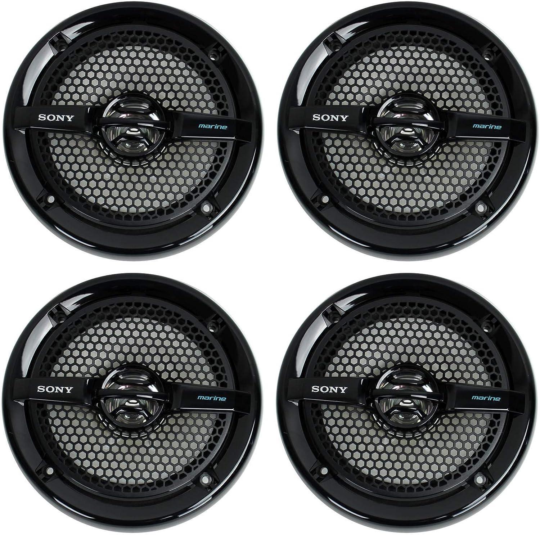 "Sony 4 XS-MP1611b 6.5"" 280 Watt Dual Cone Marine Speakers Stereo Black XSMP1611 (Black)"