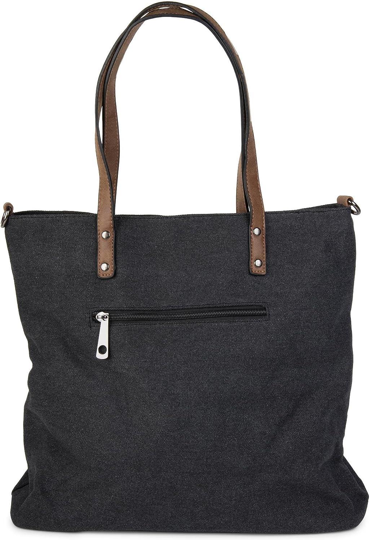 colore:Cachi borsa a tracolla tracolla styleBREAKER borsa da shopping in tela con stella cucita da donna 02012048