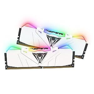 Patriot Viper Gaming RGB Series DDR4 DRAM 3200MHz 16GB Kit - White - RGB Color Profiles
