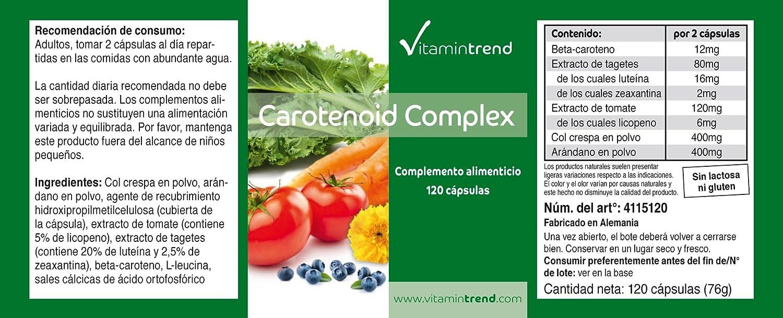 Carotenoid Complex - complejo de carotenoides - 120 cápsulas - Betacaroteno, luteína, zeaxantina, licopeno: Amazon.es: Salud y cuidado personal