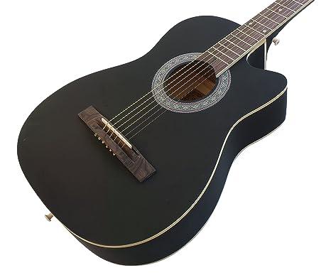Juego de guitarra acústica para principiante, cuerdas de acero negro mate
