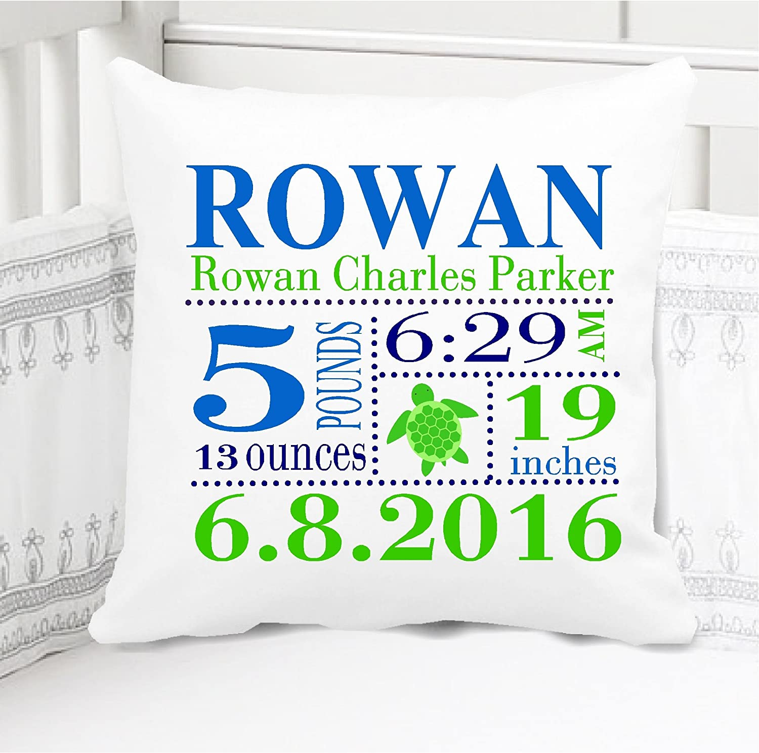 Birth Announcement Pillow for Baby Boys Sea Turtle Nursery - Includes Personalized Pillowcase and Pillow Insert 14
