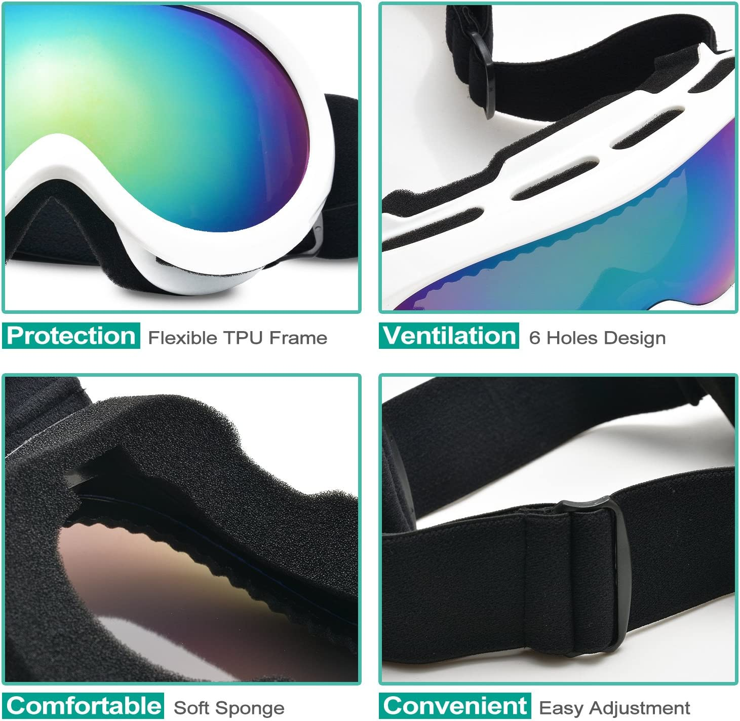 Odoland Snow Ski Goggles S2 Double Lens Anti-Fog Windproof UV400 Eyewear for Youth Skiing Age 8-16 Motorcycle Cycling and Snowmobile Winter Outdoor Sports Protective Glasses Snowboarding