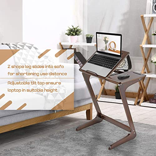 TV Tray Table NNEWVANTE Z Snack Tray Multipurpose Side End Table Laptop Desk Serving Tray Fit Sofa Couch Bed with Adjustable Tilt Desktop Feet Mat ZLN002