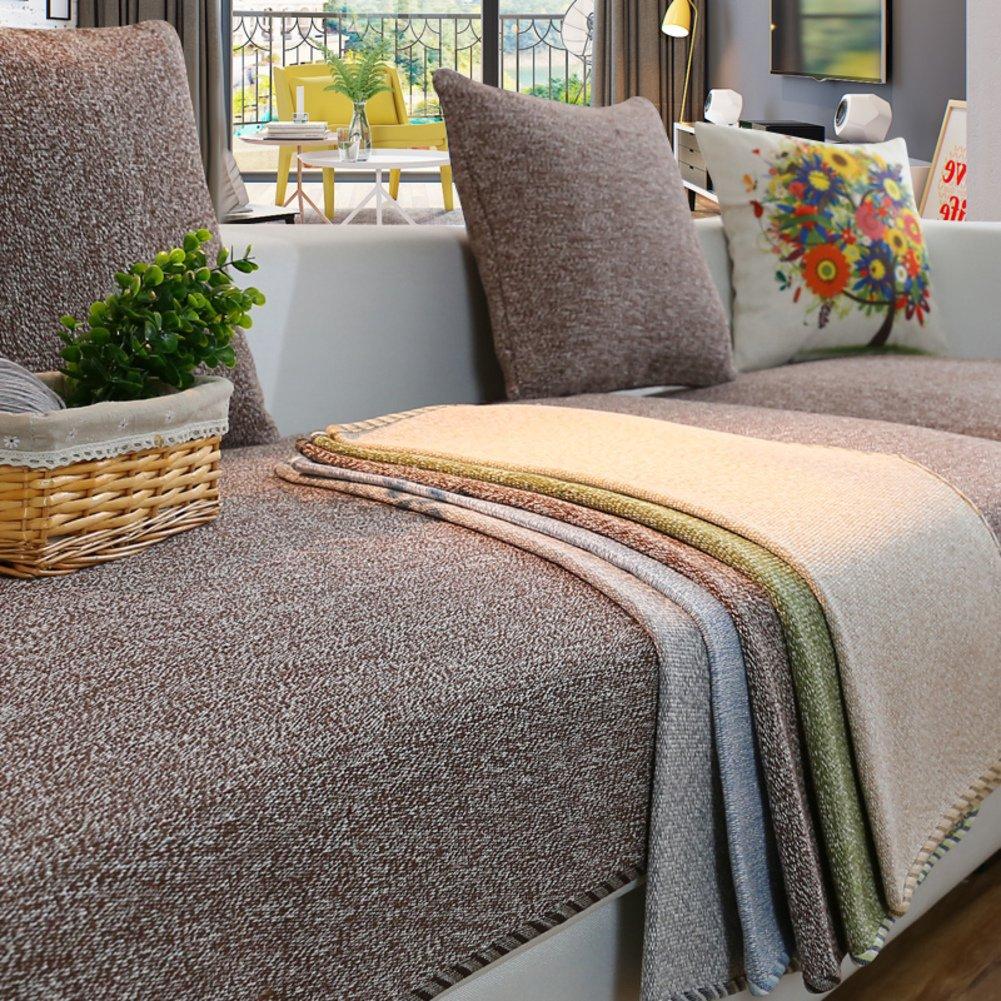 YANGYAYA Abschnittal Sofa Decken,Sofa-Handtuch abdeckungen,Sofa-Protector-Baumwoll-leinen Anti-rutsch dekorative Sofa Cover werfen setzt für Wohnzimmer kissenhülle-Braun 90x210cm(35x83inch)