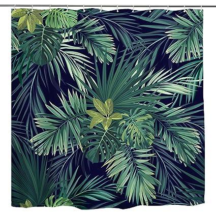 BROSHAN Plant Print Shower Curtain,Green Tropical Palm Tree Leaf Banana  Leaves Jungle Hawaiian Summer Nature Art Printing,Polyester Waterproof