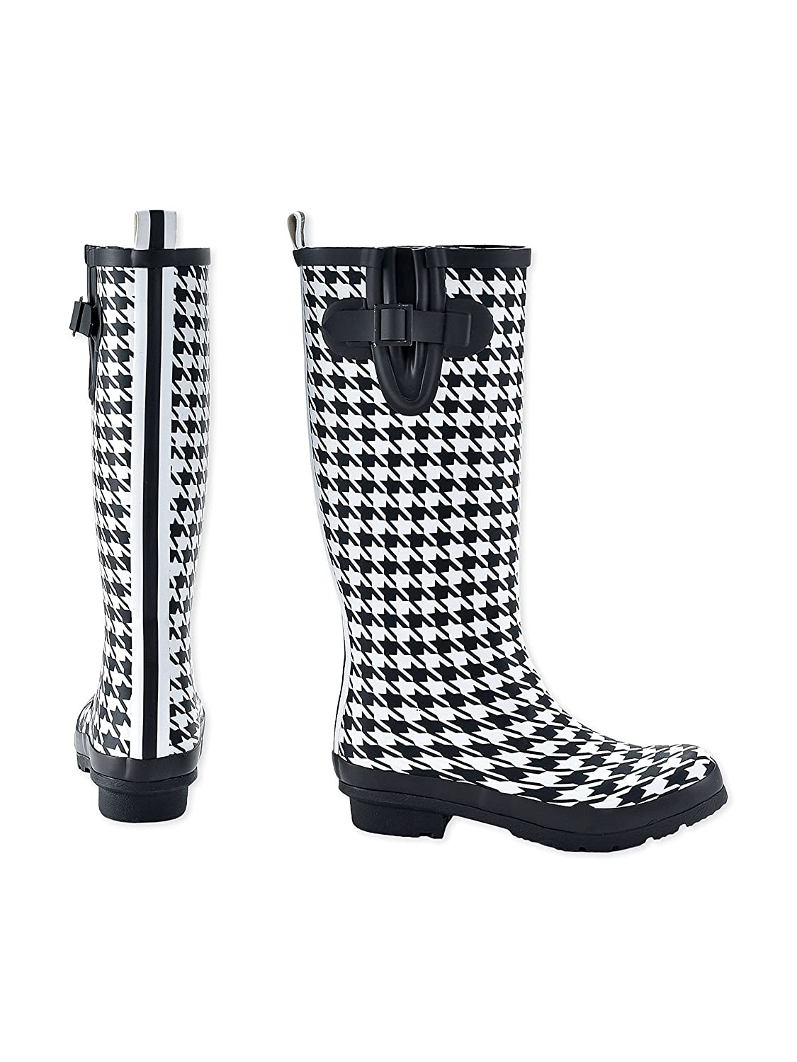 Charlie Paige Ladies Leather Tread Fashion Rubber Rain Boots B075ZVR8Z3 8 B(M) US|Black White Houndstooth