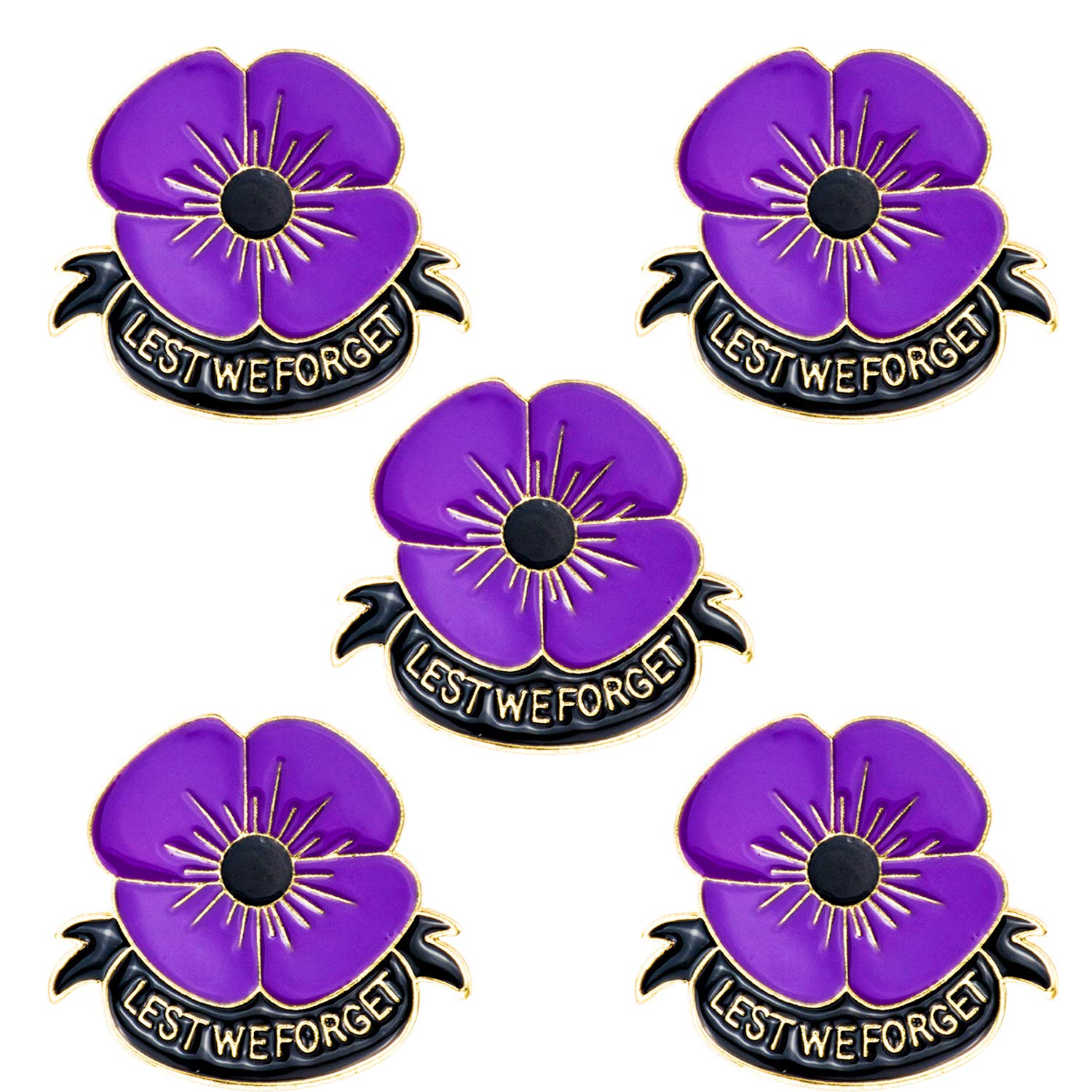 JLJ Poppy Brooch Pins Lest We Forget Veterans Day Memorial Day Remembrance Day