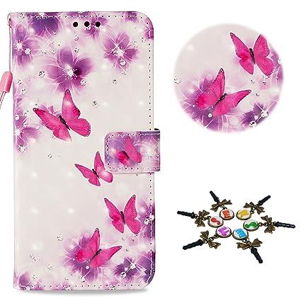 Stenes Huawei P20 Lite Case Draw Series Butterfly Flowers Flip Wallet Credit Card Slots Fold