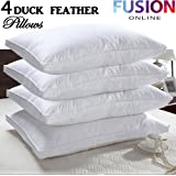 4 x Duck Feather Pillows 100% cotton Cover Filled Luxury Hotel Quality Pillow