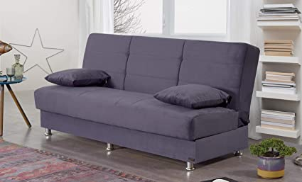 BEYAN Ramsey Collection Armless Modern Convertible Sofa Bed with Storage  Space, Includes 2 Pillows, Gray