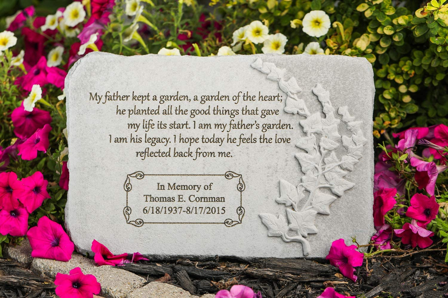 """Kay Berry Inc My Father Kept a Garden. 15"""" x 10"""" Rectangle - Personalized Memorial Stone - Fused Glass Stone"""