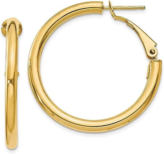 14k Yellow Gold 0.8IN Long Polished Hoop Earrings