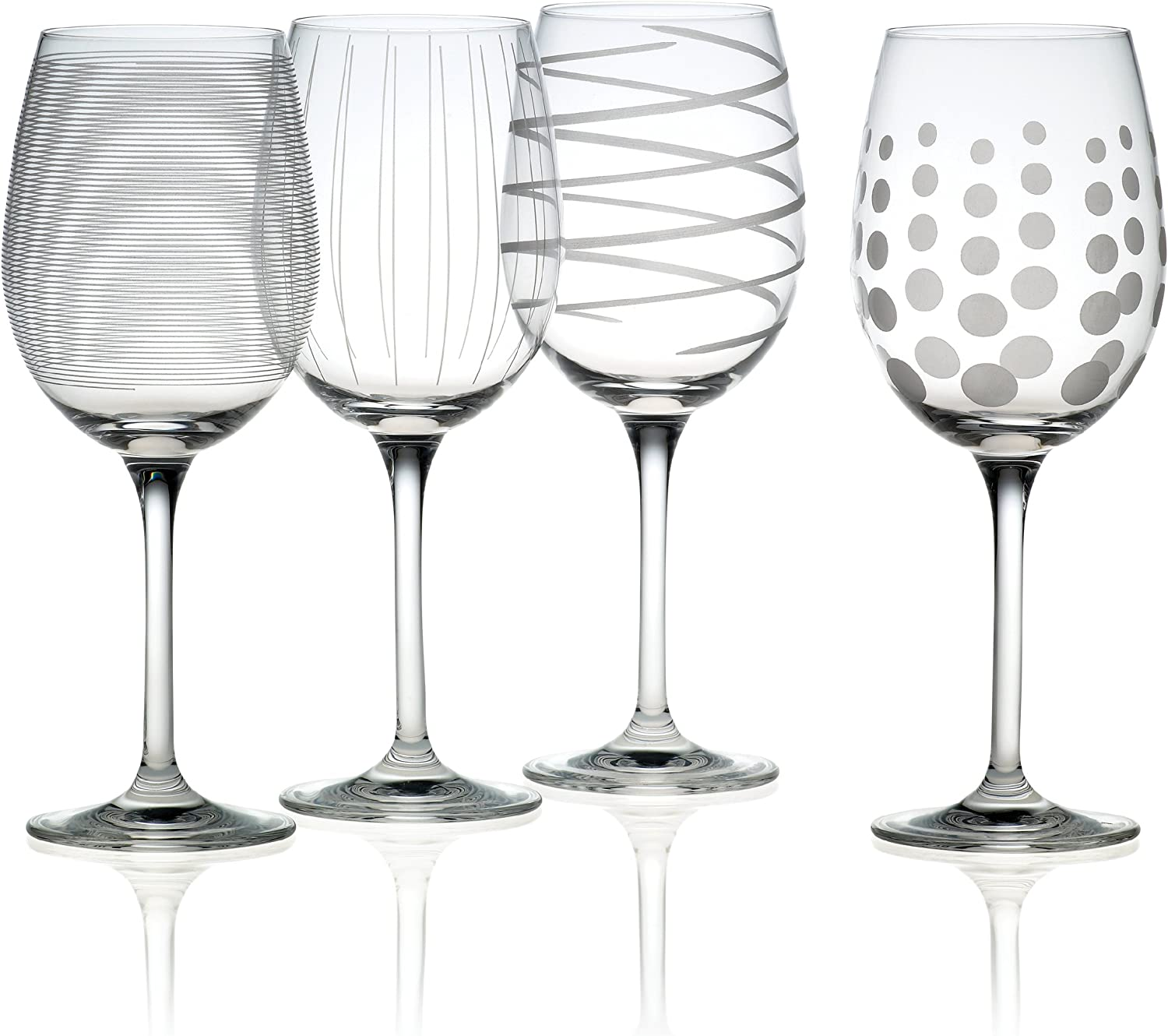 Mikasa Cheers Precision-Etched 16-oz White Wine Glasses, (Set of 4)