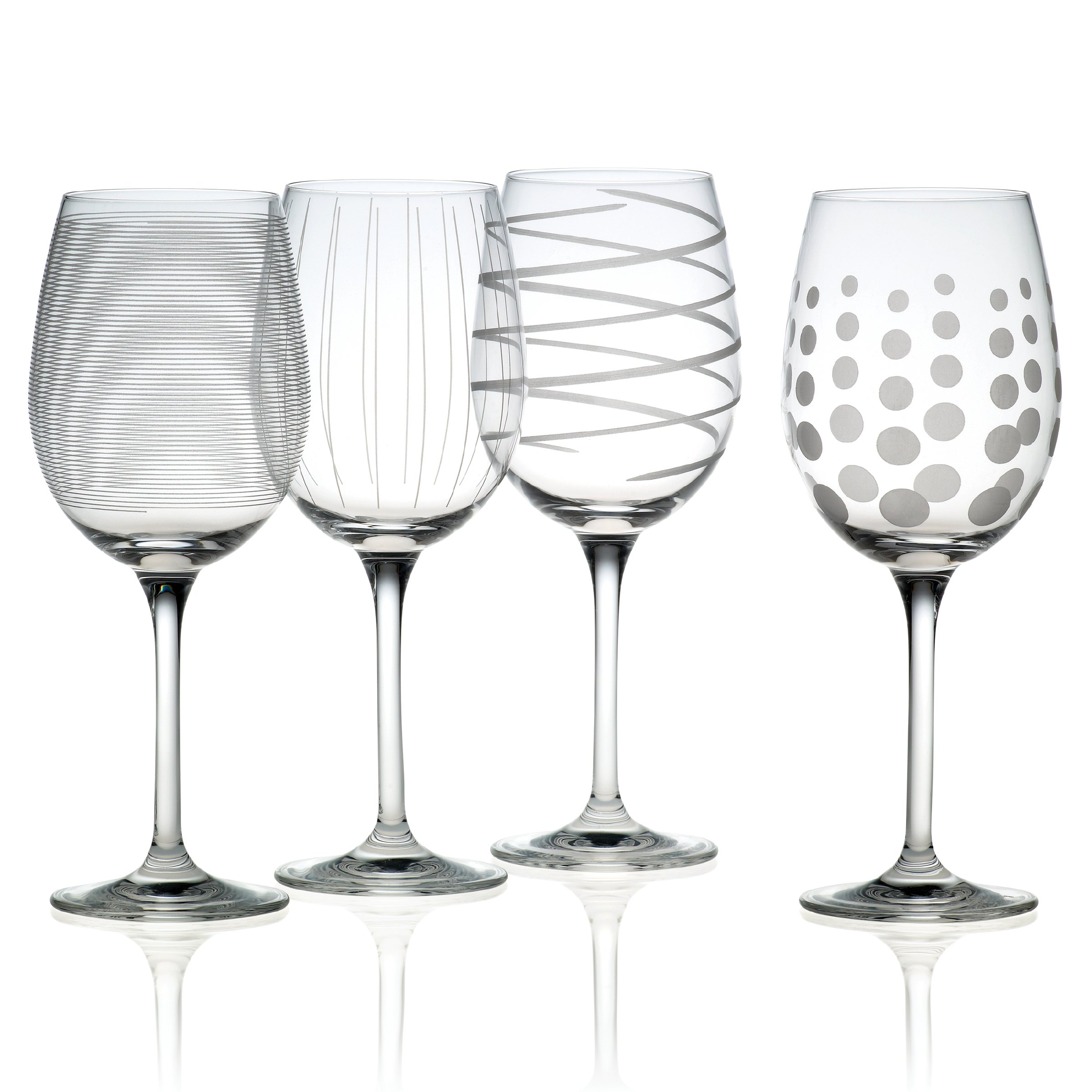 Mikasa Cheers Precision-Etched 16-oz White Wine Glasses, (Set of 4) by Mikasa