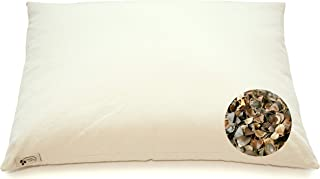 """product image for ComfyComfy Premium Buckwheat Pillow, Traditional Size (14"""" x 21""""), Comes with Extra 1 lb of USA Grown Buckwheat Hulls to Customize for Comfort, and Custom Percale Cotton Pillowcase"""