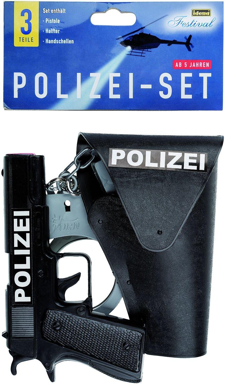 Idena 8040007 - Juego de policía de 3 piezas: pistola, fundas y esposas