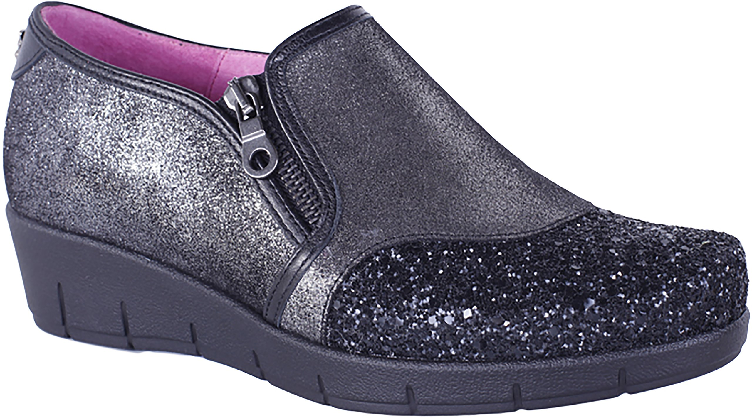 Helle Fashion Comfort Women's Wira Black Comfort Loafer With Bling Size 39