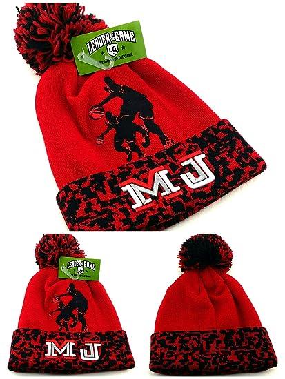 fe4da8a11c2e Amazon.com  Chicago New Leader MJ 23 Jordan Bulls Colors Red Black Toque Pom  Beanie Era Hat Cap  Sports   Outdoors