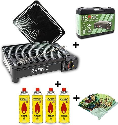 RSonic Camping BBQ Parrilla de Gas Gas Horno Grill portátil Barbacoa Mesa Grill Incluye Parrilla Parrilla Parrilla + +-Palillos + 4X Cartuchos de Gas ...