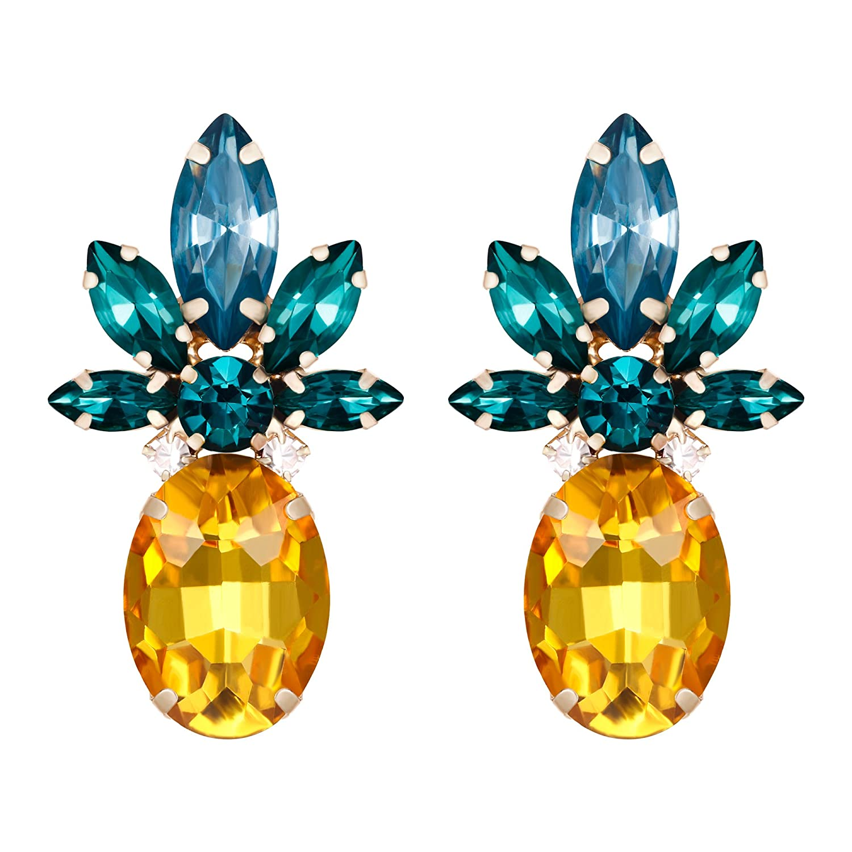 BriLove Women's Wedding Bridal Crystal Flower-Shape Marquise Dangle Earrings Yellow Gold Tone 12001916-1ca
