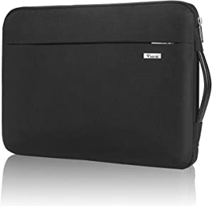 """Voova Laptop Sleeve Case 11 11.6 12 inch with Handle, Upgrade 360° Protective Computer Bag Compatible with Chormebook/MacBook Air/Surface pro 7 6, 12.5"""" Tablet Cover with Organizer Pocket,Black"""
