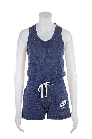 f2813f00238 Nike Women's Sportswear Vintage Romper One Piece (Medium, Heather Navy/Sail)