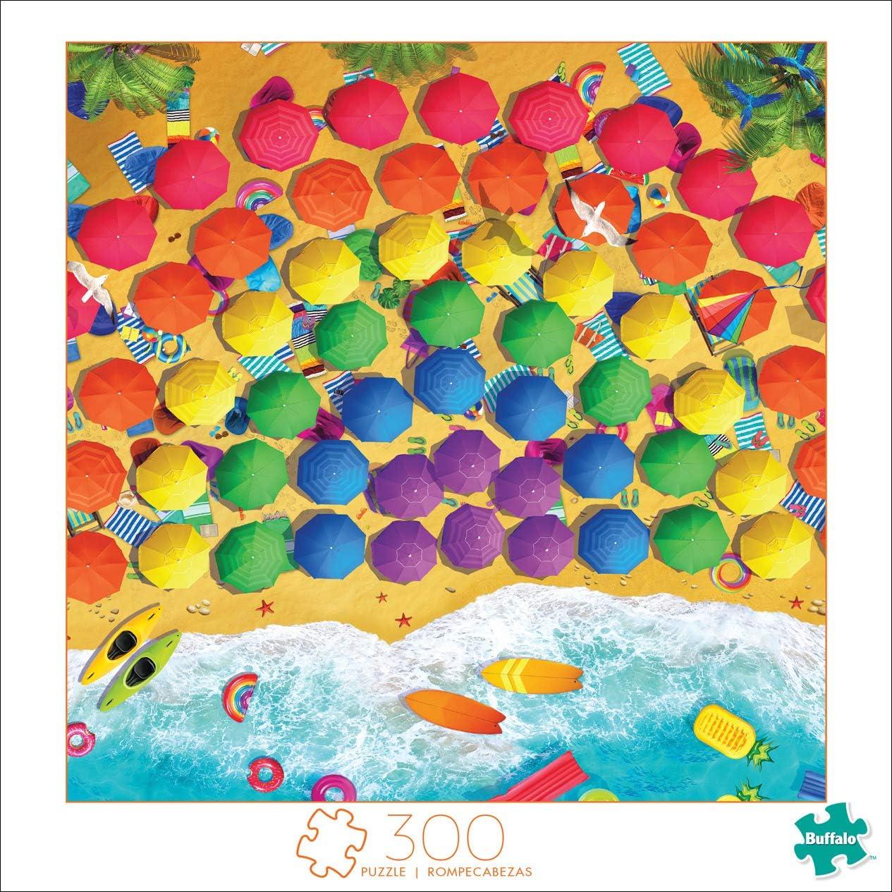 300 Large Piece Jigsaw Puzzle Rainbow Umbrellas Buffalo Games