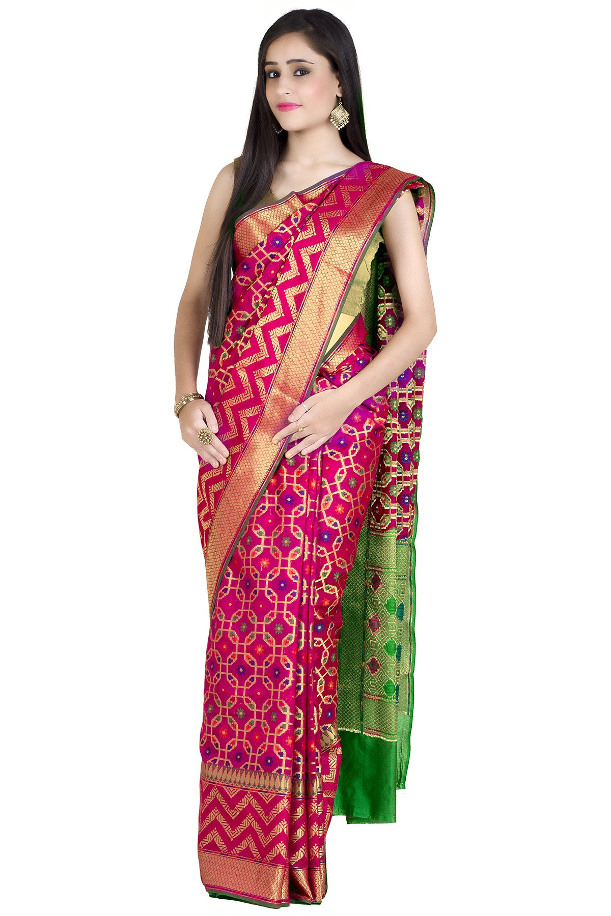 Chandrakala Women's Red Cotton Silk Banarasi Saree(1242RED) by Chandrakala (Image #3)