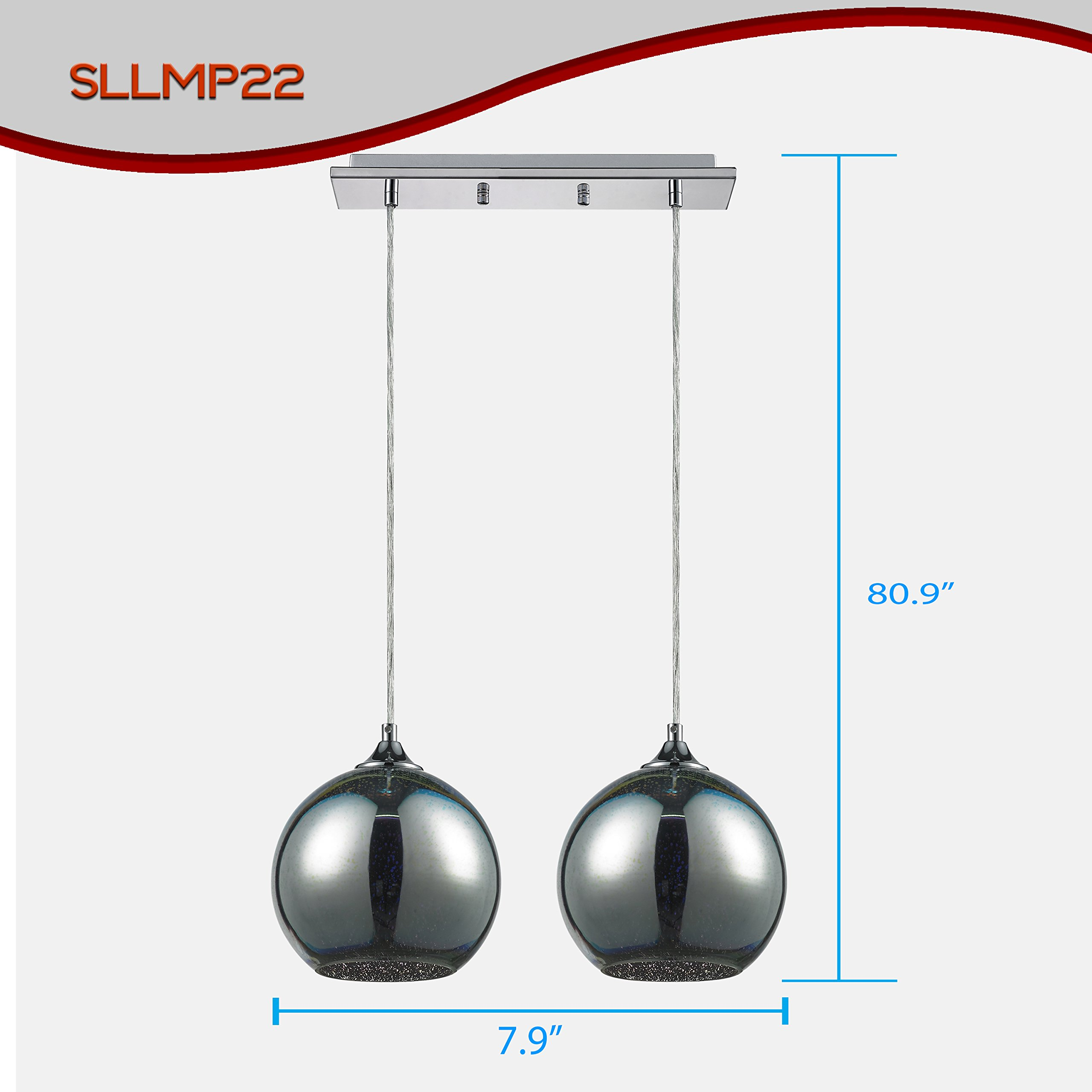 "SereneLife Home Lighting Fixture - Dual Pendant Hanging Lamp Ceiling Light with 2 7.87"" Circular Sphere Shaped Dome Globes, Sculpted Glass Accent, Adjustable Length and Screw-in Bulb Socket (SLLMP22) by SereneLife (Image #3)"