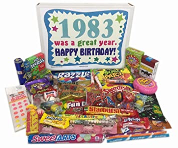 1983 34th Birthday Gift Box Of Retro Nostalgic Candy From Childhood For 34 Year Old Men