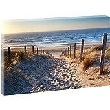 """Quadro su tela, soggetto """"La spiaggia del mare del Nord"""", V1720544, formato XXL, 120 cm x 80 cm, Poliestere Stampa su tela, a colori, 120 cm x 80 cm"""