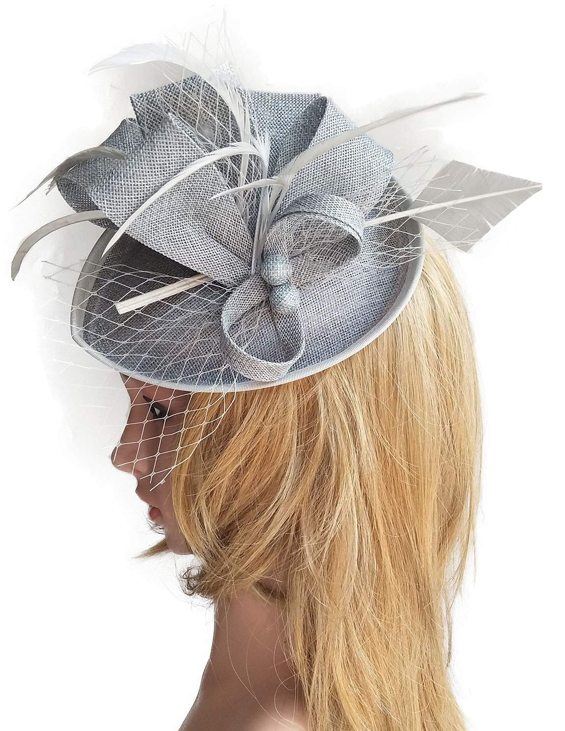 Biruil Fascinators Sinamay Feather Womens Pillbox Flower Derby Cocktail Tea Party Hat (Grey)