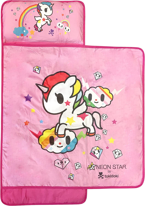 Jay Franco Tokidoki Neonstar Unicorno Rainbow Nap Mat - Built-in Pillow and Blanket Featuring Unicorno - Super Soft Microfiber Kids'/Toddler/Children's Bedding, Ages 3-5 (Official Tokidoki Product)