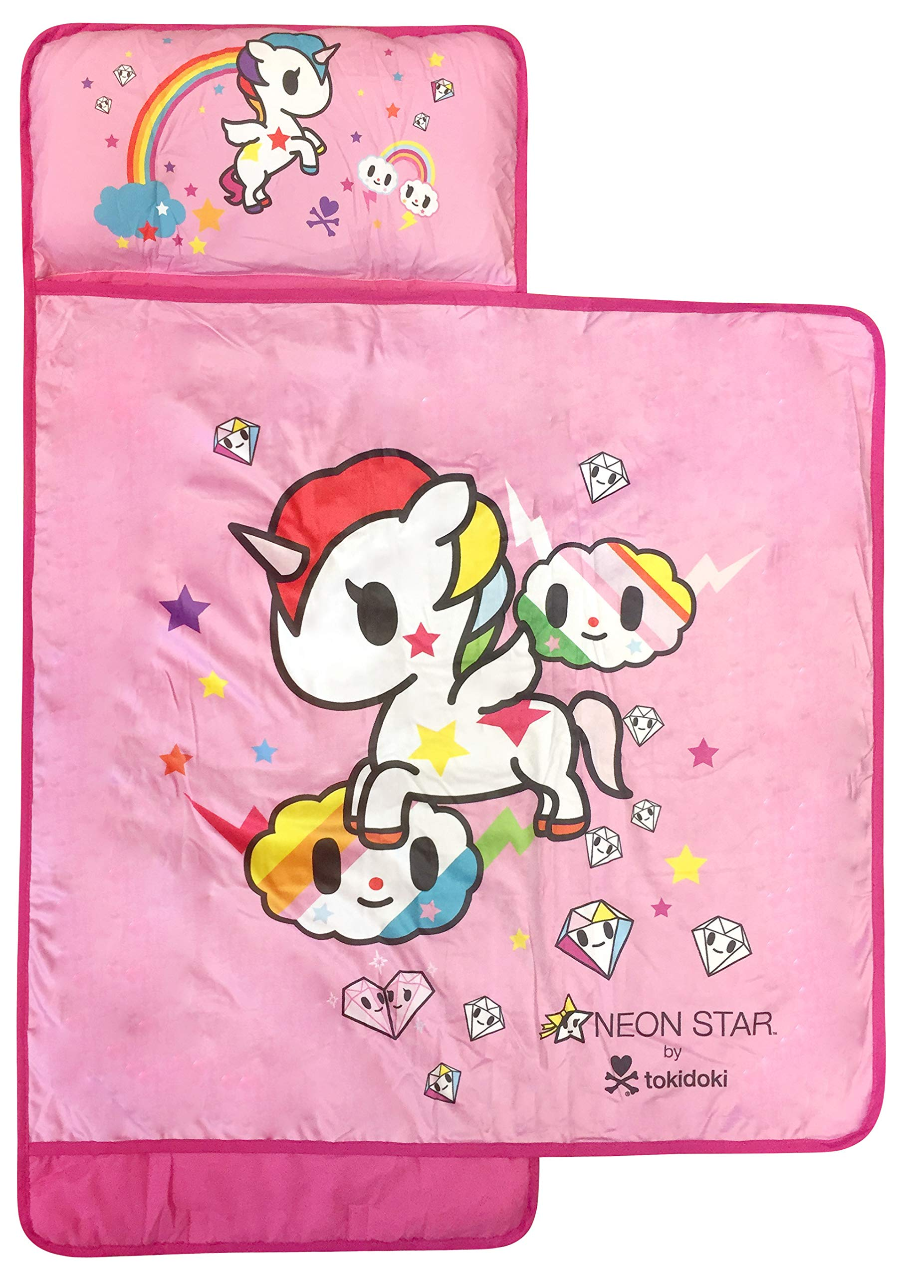 Jay Franco Tokidoki Neonstar Unicorno Rainbow Nap Mat - Built-in Pillow and Blanket Featuring Unicorno - Super Soft Microfiber Kids'/Toddler/Children's Bedding, Ages 3-7 (Official Tokidoki Product)