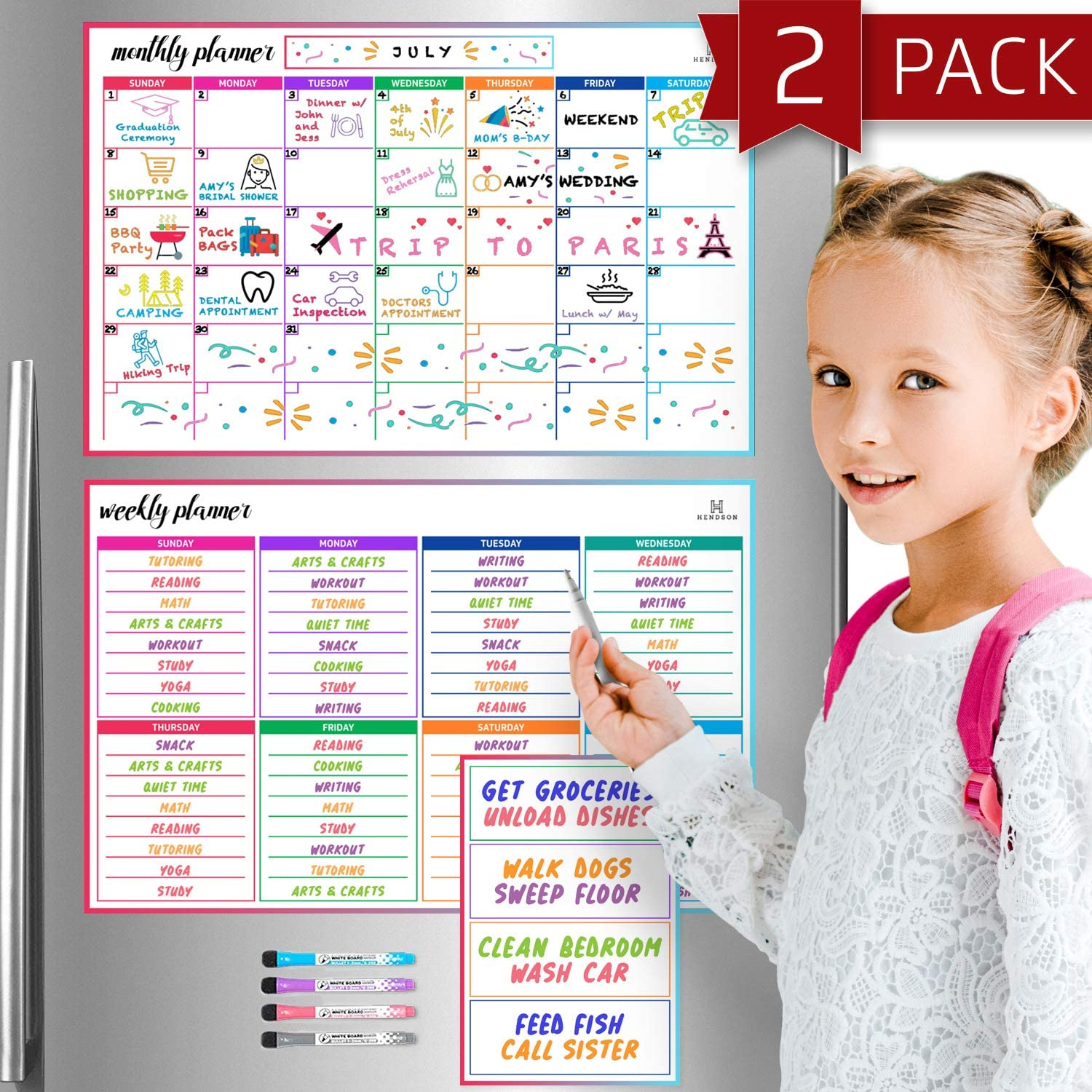 """Magnetic Dry Erase Calendar Whiteboard - Set of 3 Magnetic Calendars for Refrigerator: Monthly Planner (11""""x17""""), Weekly Organizer (11""""x17"""") & Daily Notepad (6""""x9"""") - Reusable Family Fridge Calender"""