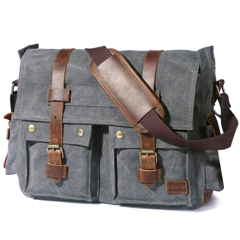 Lifewit 17.3'' Men's Messenger Bag Vintage Canvas Leather Military Shoulder Laptop Bags, Grey by Lifewit