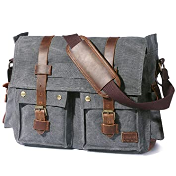 Lifewit 17 quot  Men s Messenger Bag Vintage Canvas Leather Military  Shoulder ... 1328ddf3a846b