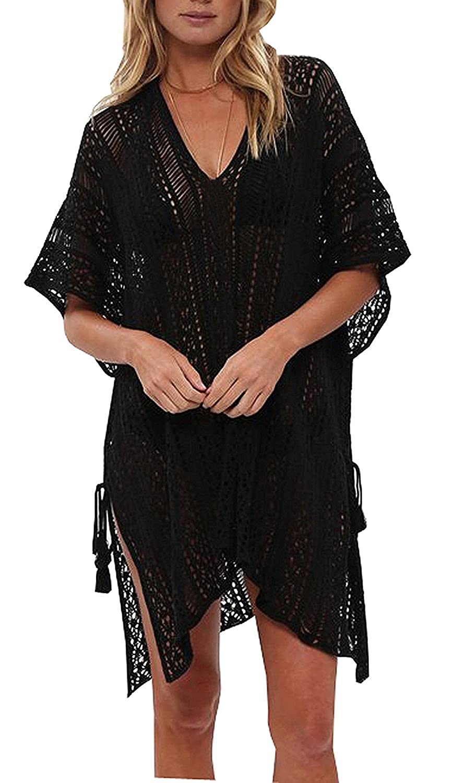Wander Agio Beach Swimsuit for Women Sleeve Coverups Bikini Cover Up Net Slit Black EWASWIX036x12