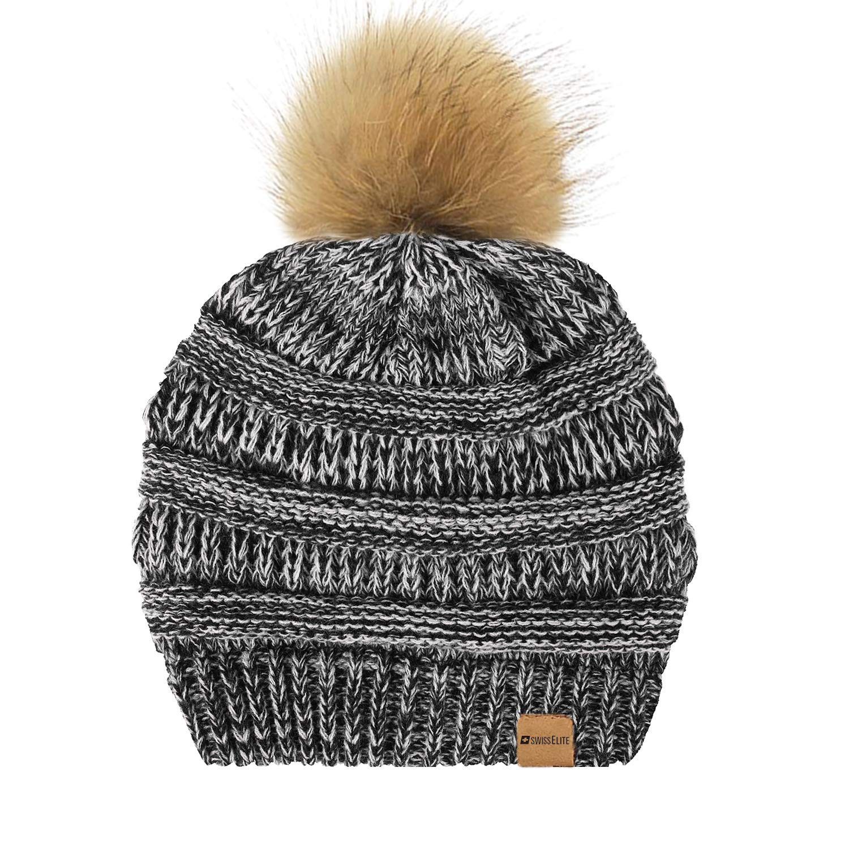 Black White Beanie Hats for women with Pom Pom  Warm, Soft Knit Beanie, Thick Slouchy Knit Skull Cap