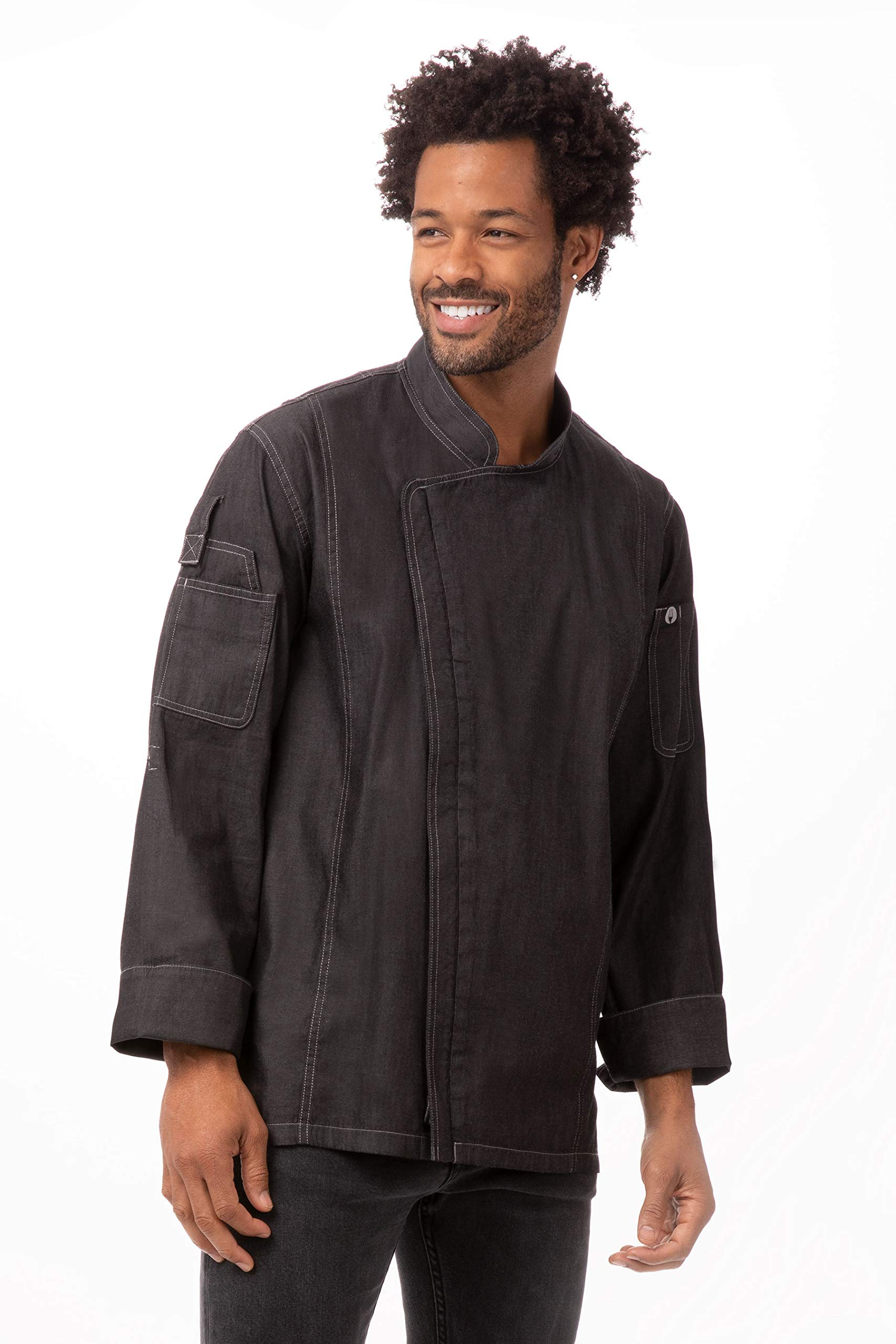 Chef Works Men's Gramercy Denim Chef Coat, Black, X-Large by Chef Works