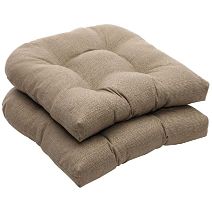 Delicieux Pillow Perfect Indoor/Outdoor Taupe Textured Solid Wicker Seat Cushions,  2 Pack