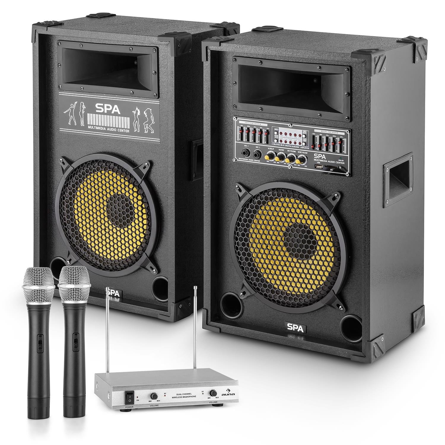 Set JD PA-Party Yellow Star 10 2 Casse Attive Stereo-karaoke da 400 Watt 4 Ohm Bassreflex Amplificatore Integrato Effetto Echo Porta USB SD MP3 2 Microfoni Senza Fili Centralina Delay microfono impostabile E-Star P-28285-30867