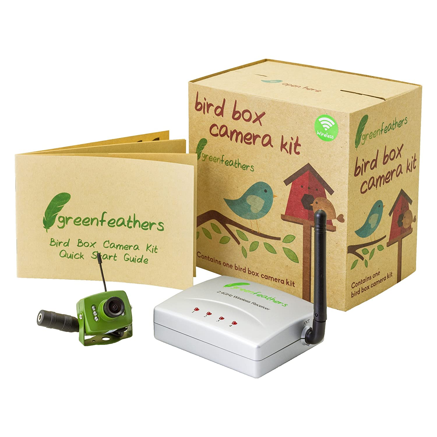 Green with 20m Extension Cable Greenfeathers Wireless Bird Box Camera with Night Vision, Wireless Receiver, 20m Power Extension Cable, 700TVL Video Perfect for your Garden, Nest Boxes, Bird Houses, Wide Angle Lens