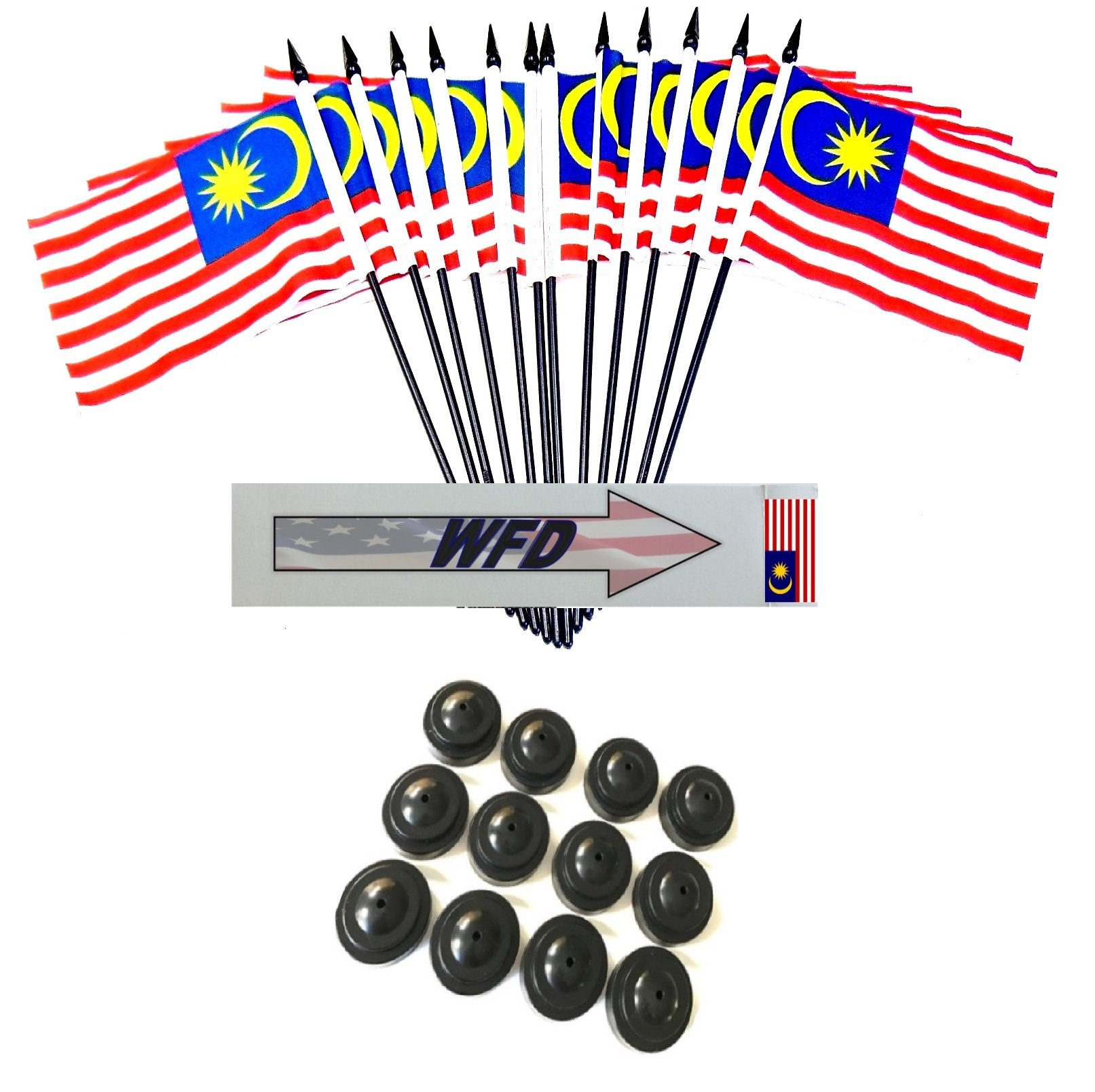 Pack of 12 4''x6'' Malaysia Polyester Miniature Office Desk & Little Table Flags, 1 Dozen 4''x 6'' Malaysian Small Mini Handheld Waving Stick Flags with 12 Flag Bases (Flags with Stands)